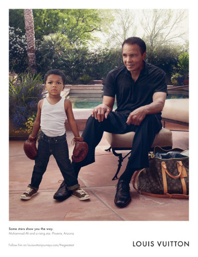 Muhammad Ali, at age 70, has become the new face of Louis Vuitton's Core Values travel line.