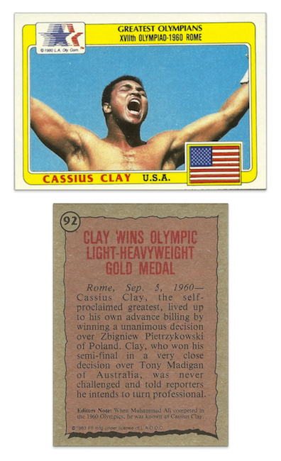 1983 Topps Greatest Olympians Cassius Clay #92 / $25.00