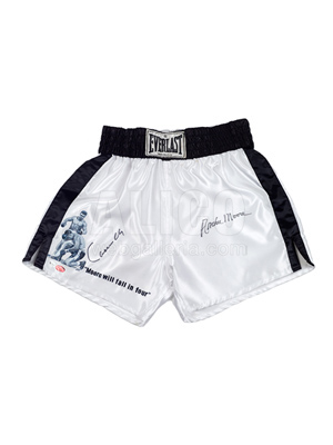 "Cassius Clay ""Moore Will Fall In Four"" Hand Painted Trunks"