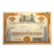 Madison Square Garden Corporate Stock Certificate