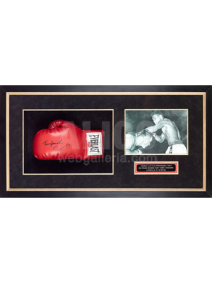 Autographed Gloves & Photo from Cassius Clay's 1st Pro Fight