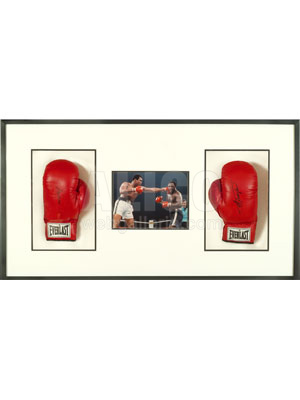 Muhammad Ali / Joe Frazier Shadowbox with Autographed Gloves and Manila Fight Photo