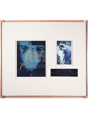 "Muhammad Ali Autographed X-ray Shadowbox with Photo from the ""Broken Jaw"" Fight"