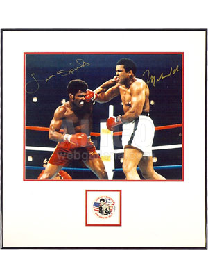 Muhammad Ali / Leon Spinks Autographed Photo With Button