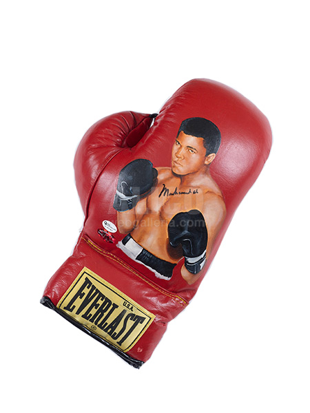 Muhammad Ali Glove Everlast Red leather with portrait of Muhammad Ali by Wayne Prokotiak