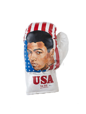 Cassius Clay Hand Painted 16oz Glove by Wayne Prokotiak