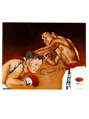 Cassius Clay / Tunney Hunsaker 1960 Autographed Litho