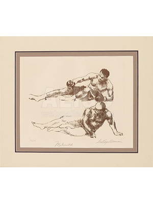 """Classic Fallen Warrior"" Limited Edition Etching by leRoy Neiman"