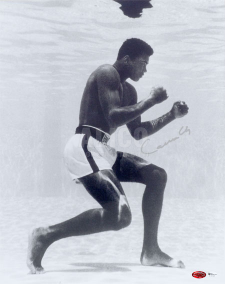 Cassius Clay Underwater Training Autographed 16 x 20