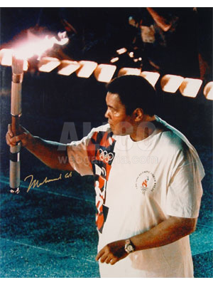 "Muhammad Ali Autographed 16 x 20"" carrying the Olympics torch Photo"