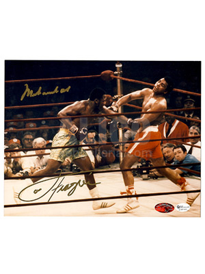 "Muhammad Ali /  Joe Frazier I Autographed 8 x 10"" full color action photo"