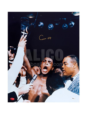 "Cassius Clay / Sonny Liston Autographed 16 x 20"" Photo with Joe Louis"