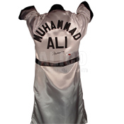 Muhammad Ali White Satin with black trim Everlast Robe