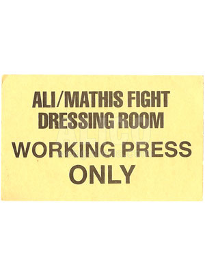 Muhammad Ali / Buster Mathis Dressing Room Pass
