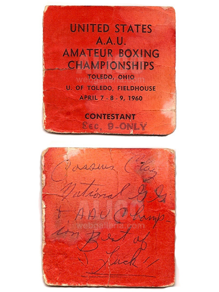 1960 A.A.U. Ticket with Cassius Clay Autograph