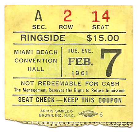 Cassius Clay / Jim Robinson Ticket Stub
