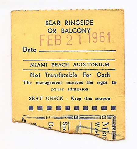 Cassius Clay / Donnie Fleeman Ticket Stub