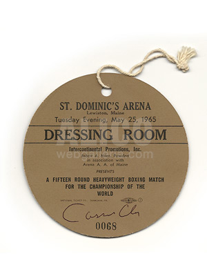 Muhammad Ali / Sonny Liston II Dressing Room Pass
