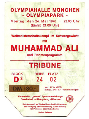 Muhammad Ali / Richard Dunn Ticket