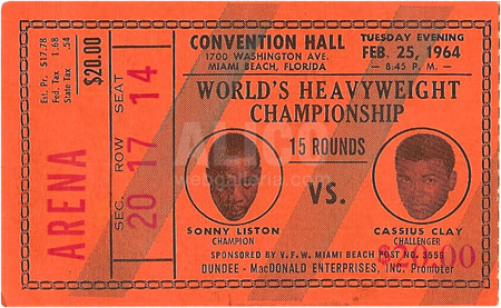 Cassius Clay / Sonny Liston I Ticket