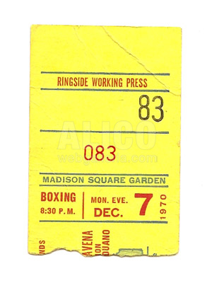 Muhammad Ali / Oscar Bonavena Press Ticket Stub